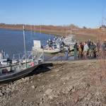 Gathering at the confluence before setting out to capture the adult pallid sturgeon.
